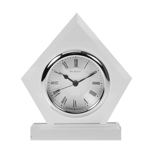 GLASS MANTEL CLOCK DIAMOND SHAPE