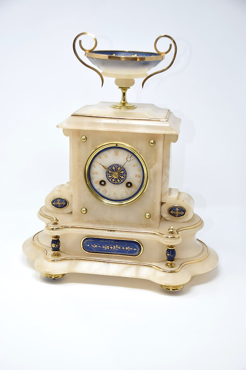 French Alabaster Striking Clock