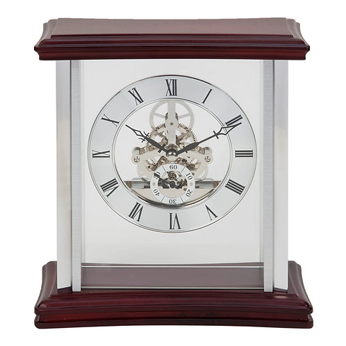 FLOATING SKELETON DIAL MANTEL CLOCK 20CM