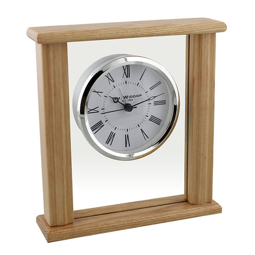 WOODEN GLASS BEZEL MANTEL CLOCK