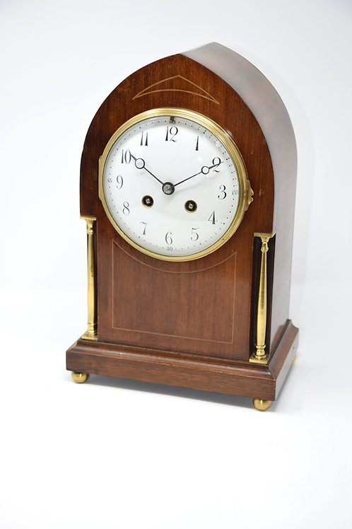 Mahogany & Pillared Striking Mantle Clock