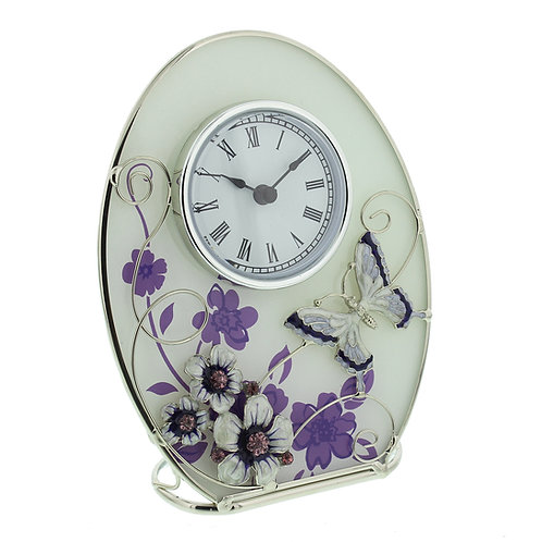 SOPHIA GLASS & WIRE OVAL MANTEL CLOCK