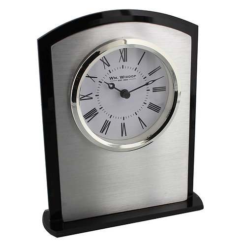 ARCHED GLASS BEZEL MANTEL CLOCK BLACK/SILVER