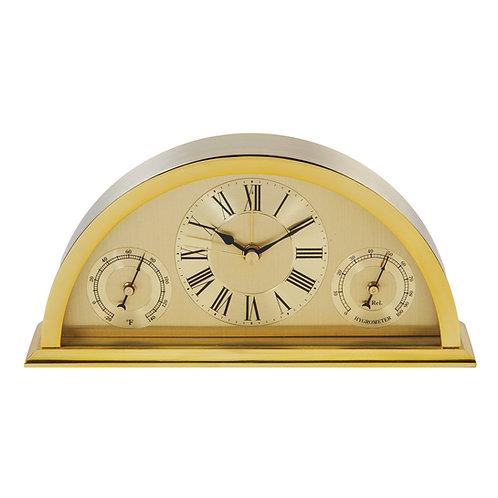 GOLD ALUMINIUM CRESCENT MANTEL CLOCK