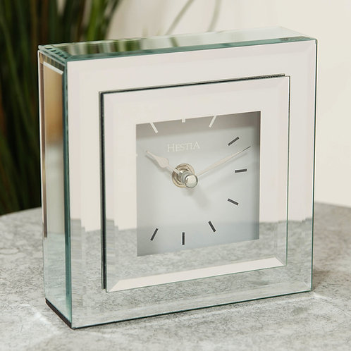 STEPPED DOUBLE LAYER GLASS SQUARE MANTEL CLOCK