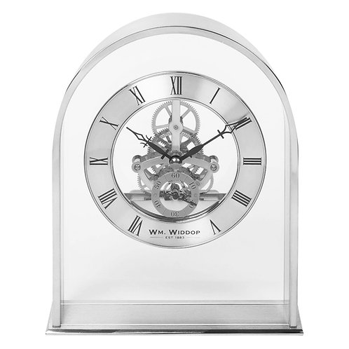 SILVER ARCH MANTEL CLOCK WITH SKELETON MOVEMENT