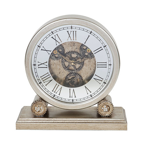 SILVER WOODEN MANTEL CLOCK