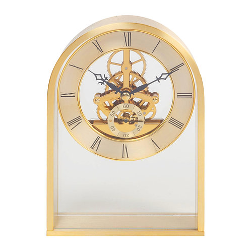 GOLD ARCH MANTEL CLOCK WITH SKELETON MOVEMENT