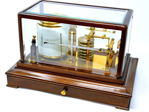 Mechanical Barograph with mahogany & glass case