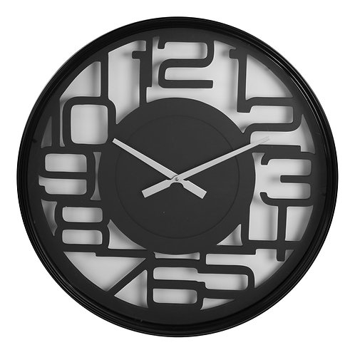 METAL WALL CLOCK - BLACK CUT OUT ARABIC DIAL