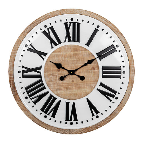 METAL & WOOD WALL CLOCK WITH ROMAN NUMERALS