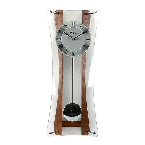 OAK & GLASS HOURGLASS PENDULUM WALL CLOCK
