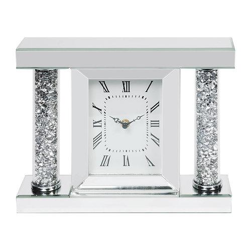 MIRROR GLASS & CRYSTAL MANTEL CLOCK