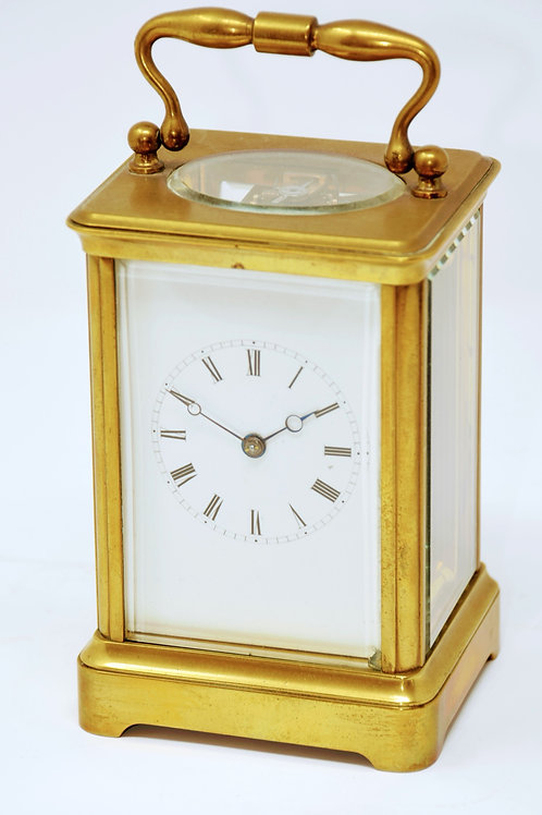 Timepiece 8 day French carriage clock with Corniche case
