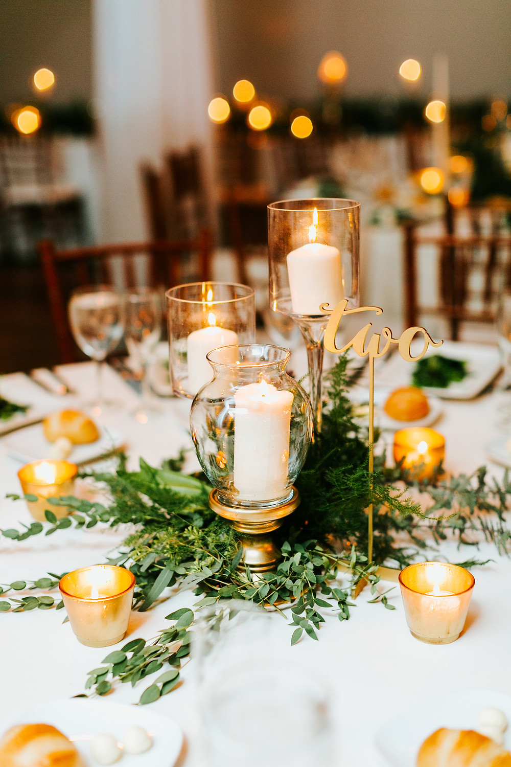 Ruffled wedding blog - gold plated candles