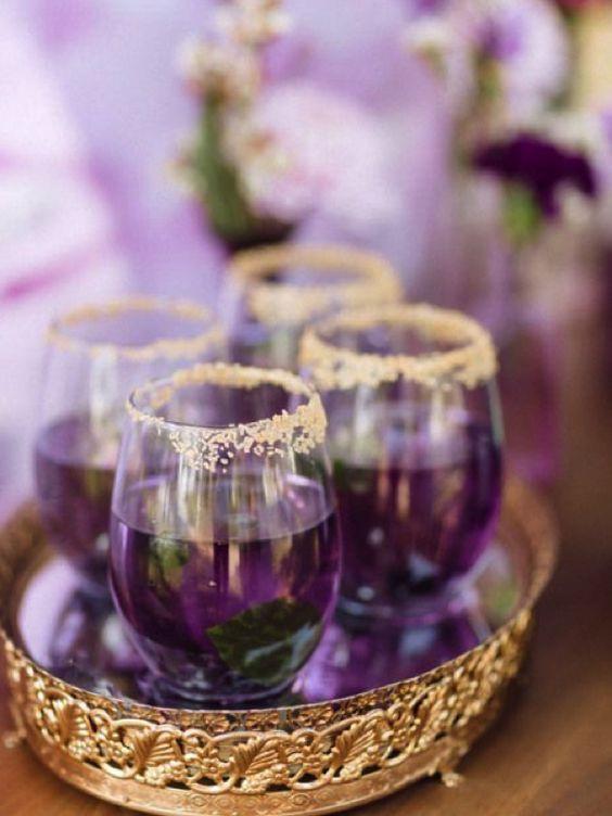 Ultra violet wedding glasses gold rimmed