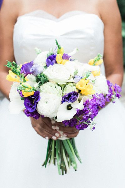 purple and yellow daffodils wedding bouquet