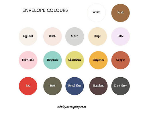 Available envelope colours