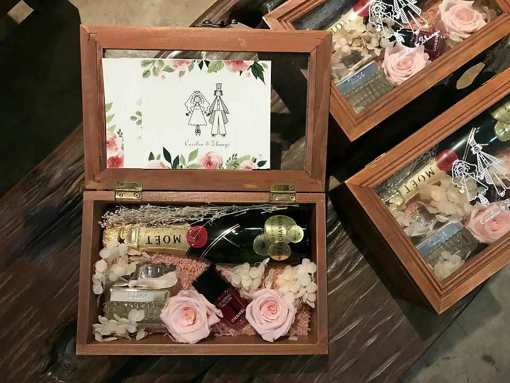 Wooden box filled with goodies