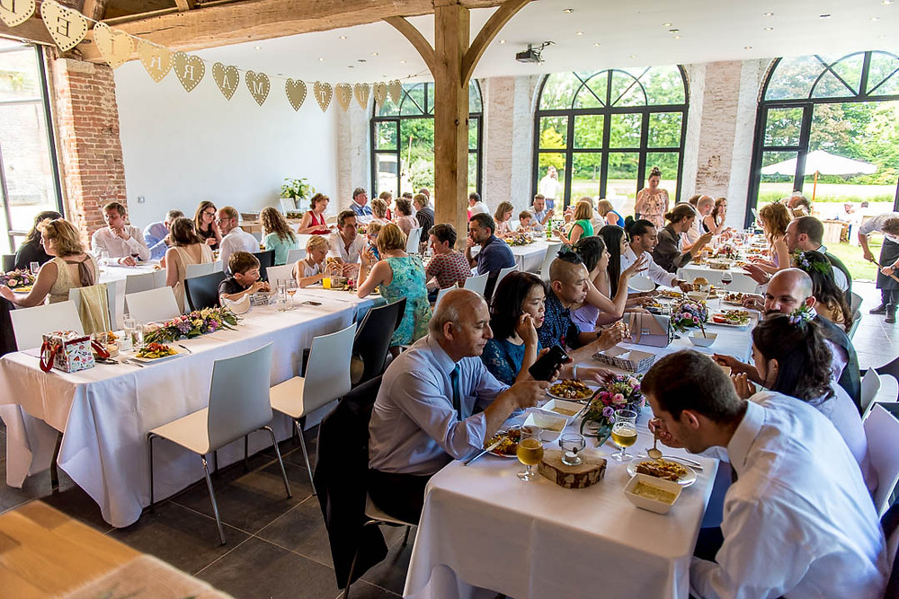 Casual buffet style dinner at the wedding in Belgium