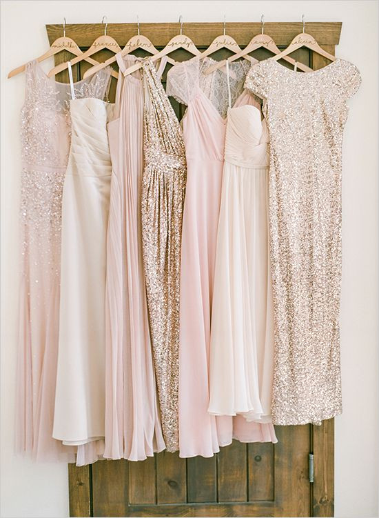 Bridesmaid dresses in shades of pink and metallics