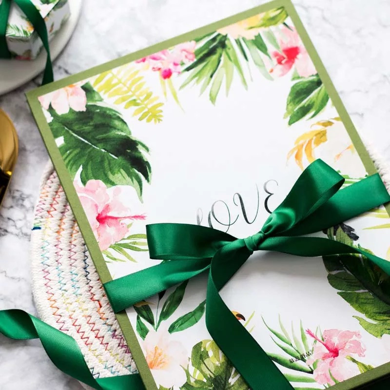 Tropical themed wedding save the dates