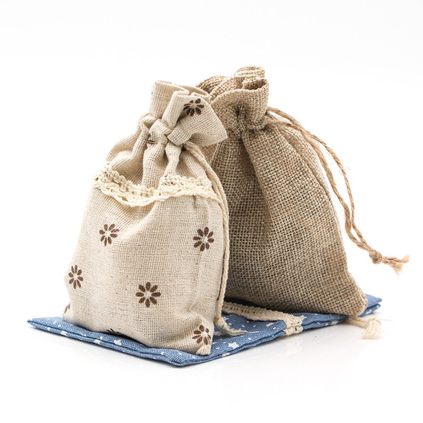 Burlap drawstring pouch for bridesmaid gifts