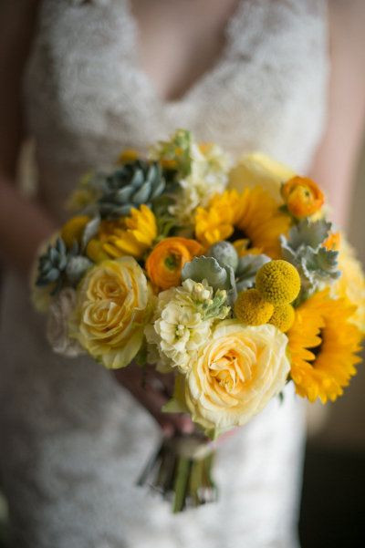 april wedding bouquet with sunflowers