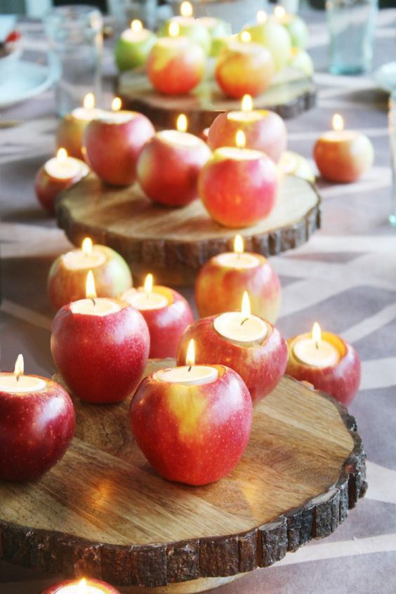 Apples as candle holders