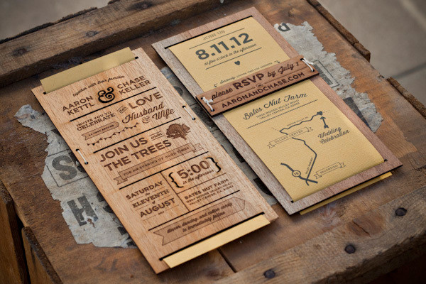 Wooden wedding invitations save the dates