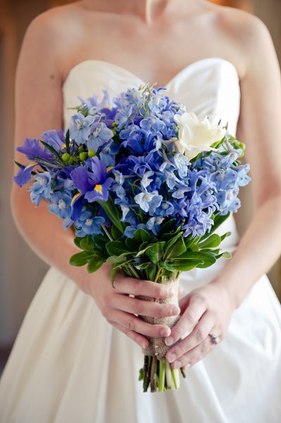 freesia and iris bouquet for march wedding