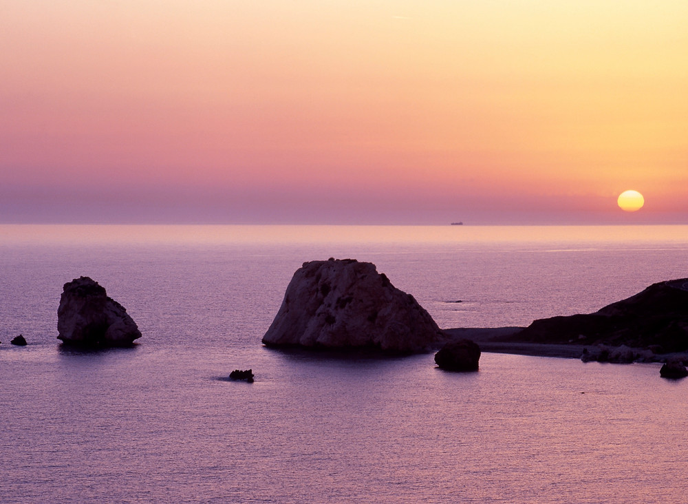 Aphrodite's rock at sunset