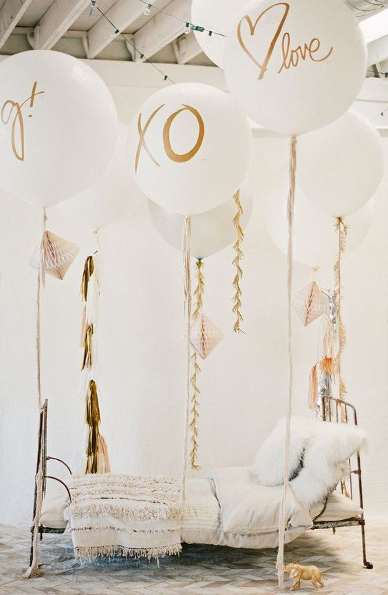 Custom party balloons with gold lettering