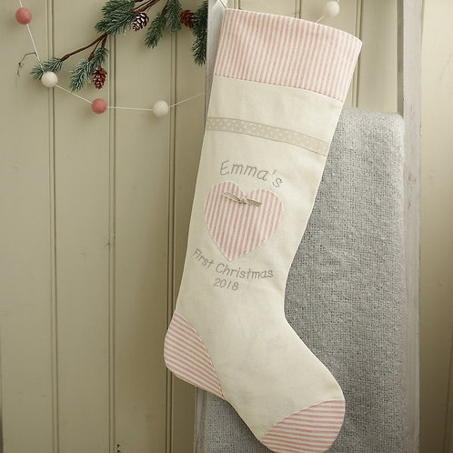 pink first Christmas stocking
