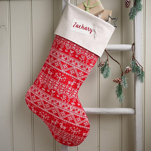 Personalised red scandi Christmas stocking