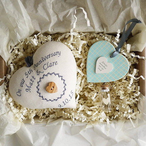5th wedding anniversary gift hamper | personalised wood anniversary gifts