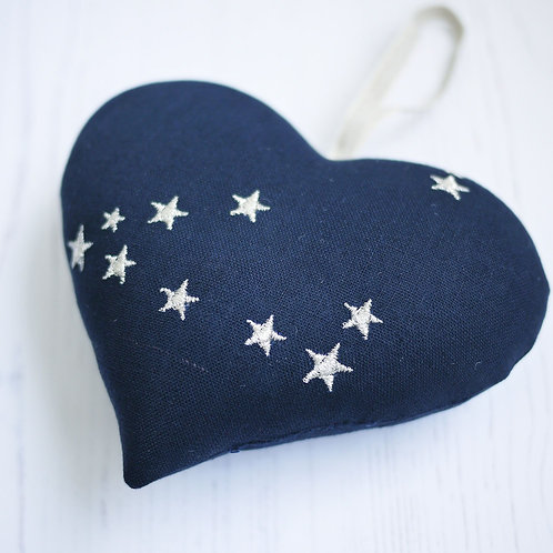 fabric heart with constellations