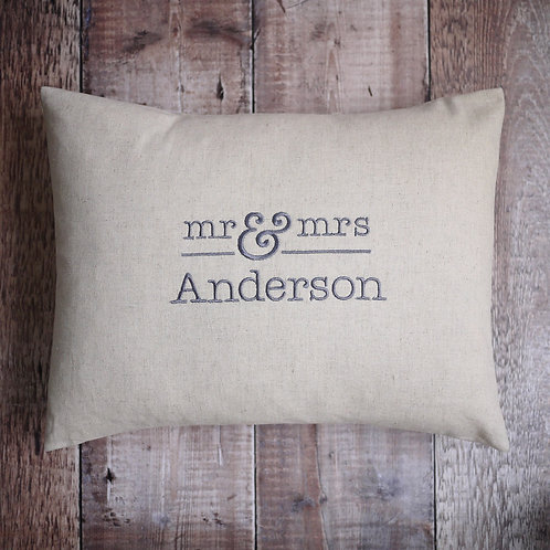 beige personalised Mr & Mrs cushion | Mr & Mrs gifts