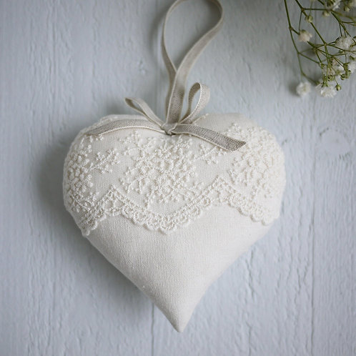 personalised ivory lace heart | personalised wedding present