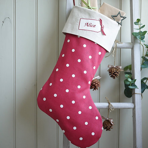 personalised red Christmas stocking | personalised stockings