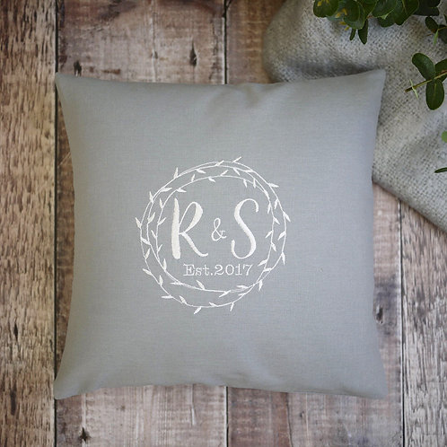 personalised grey cushion with monograms   personalised engagement gift