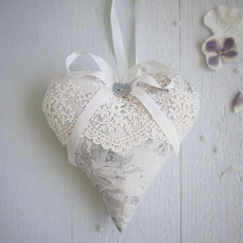 personalised grey linen & lace heart | wedding anniversary gift for her