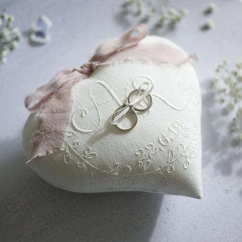 personalised wedding ring cushion | heart shaped wedding pillow