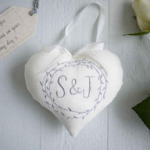 ivory monogram heart | personalised engagement present