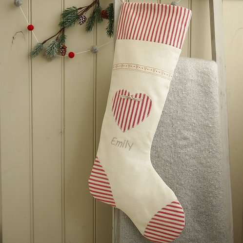 personalised red and cream christmas stocking