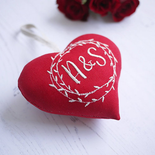 personalised red heart with monograms | valentines gift for her