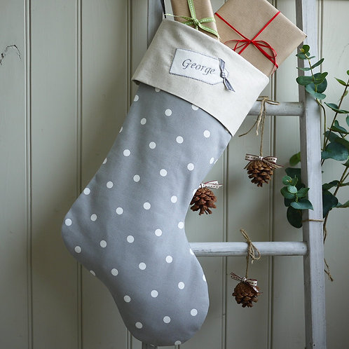 grey dotty Christmas stocking