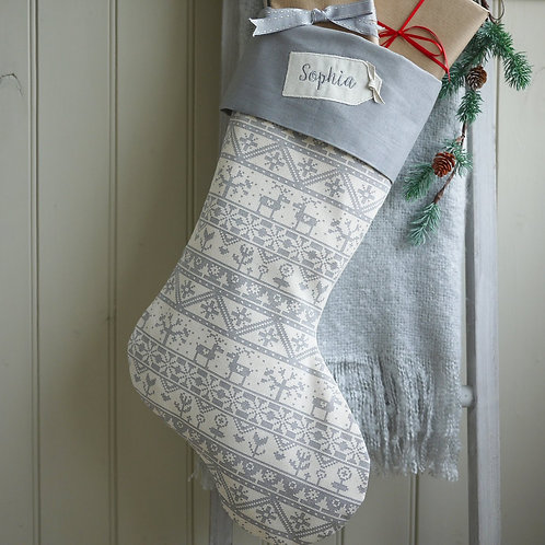 grey scandi Christmas stocking