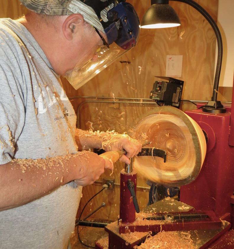 Rod turning a honey locast bowl