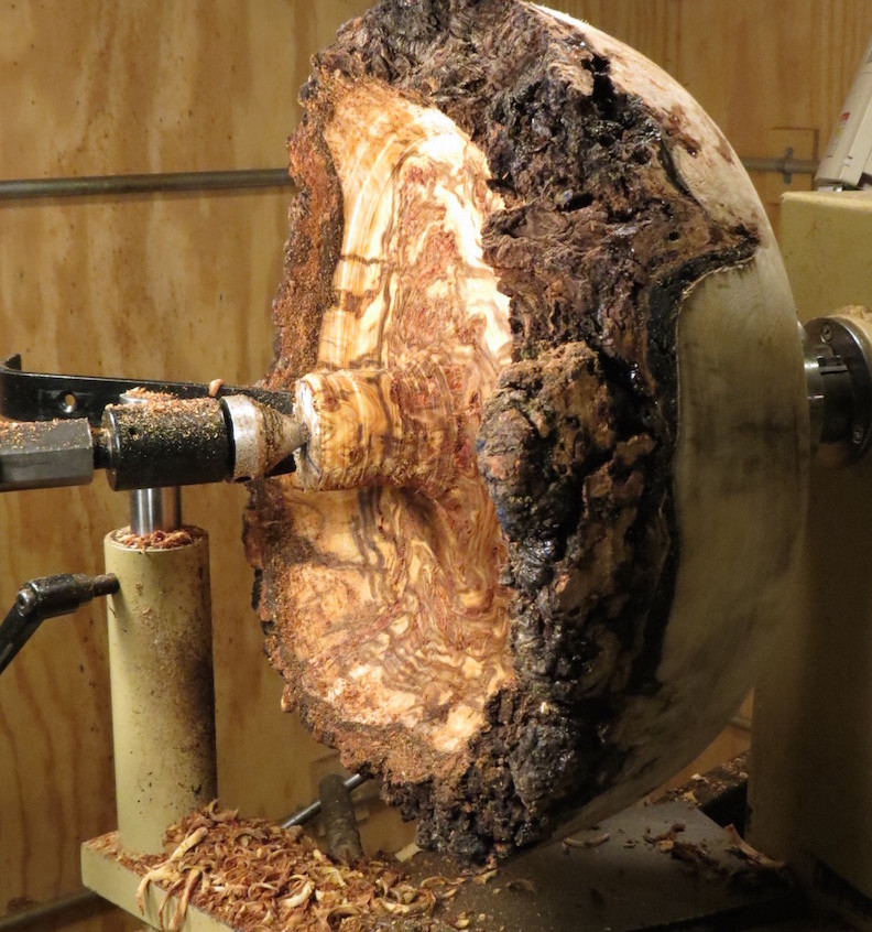 Side view of hollowing